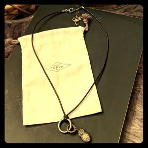 Fossil Antiqued Gold Leather Charm Necklace